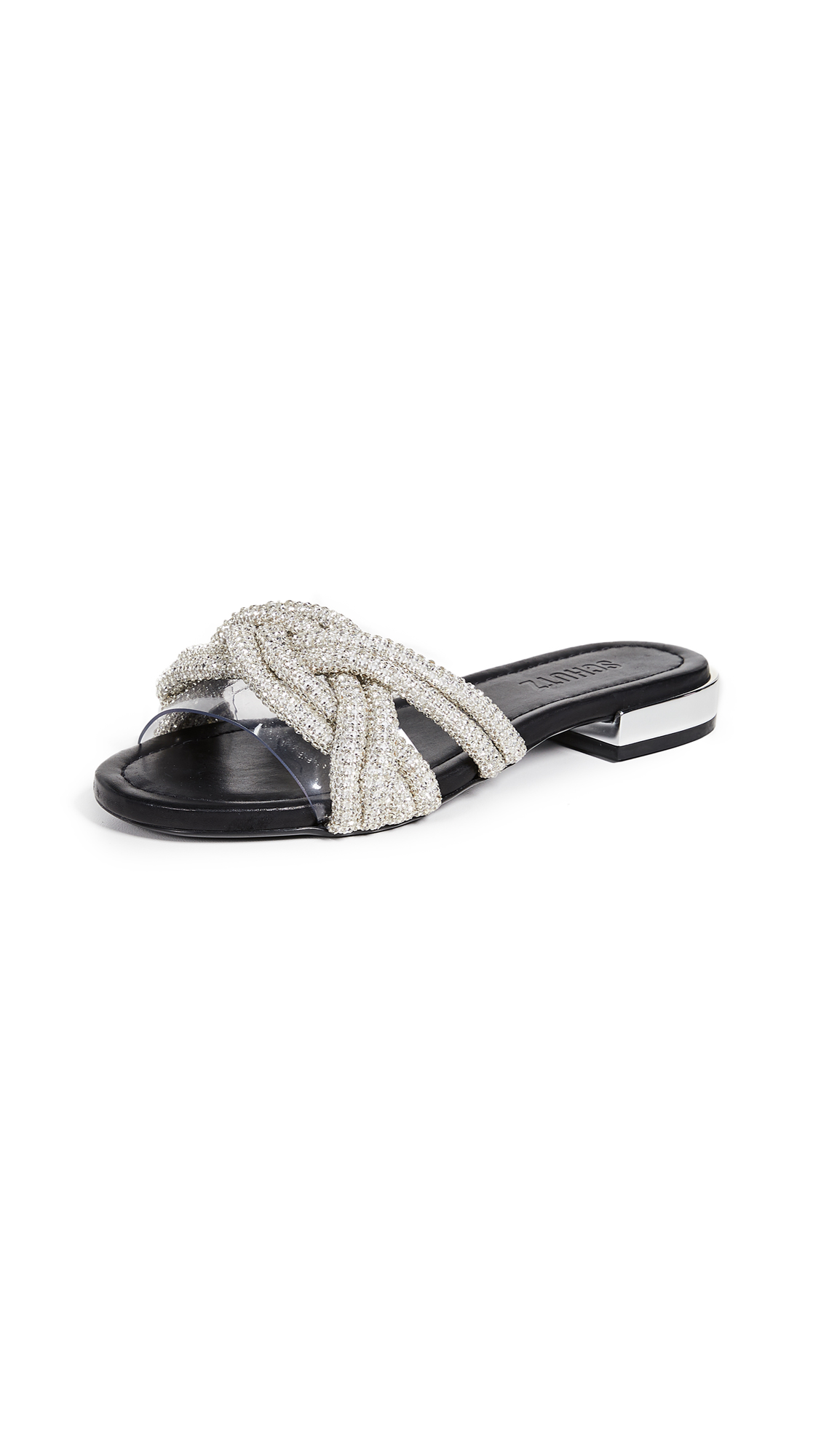 Schutz Lindy Flat Slides - Black/Transparent