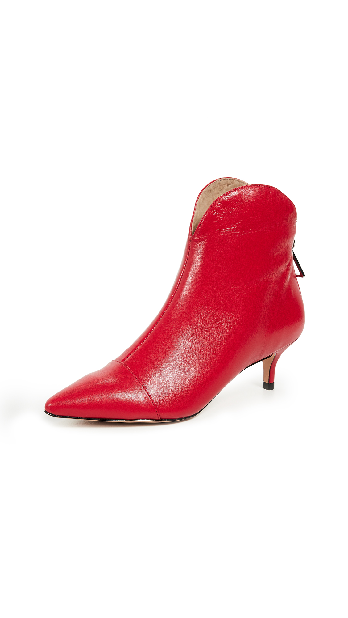 Schutz Rosyen Point Toe Booties In Club Red
