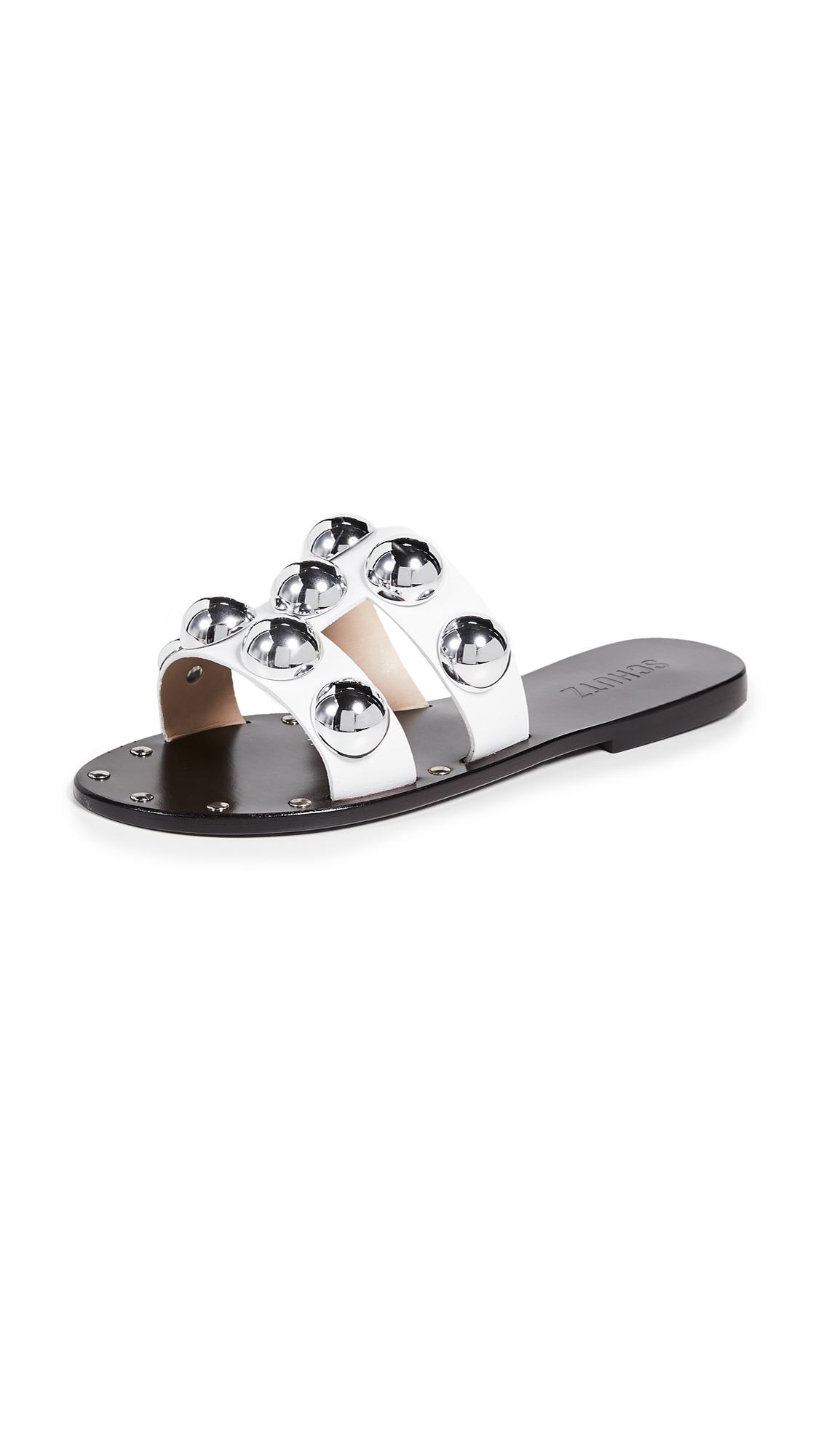 Schutz Benedita Studded Sandals - White