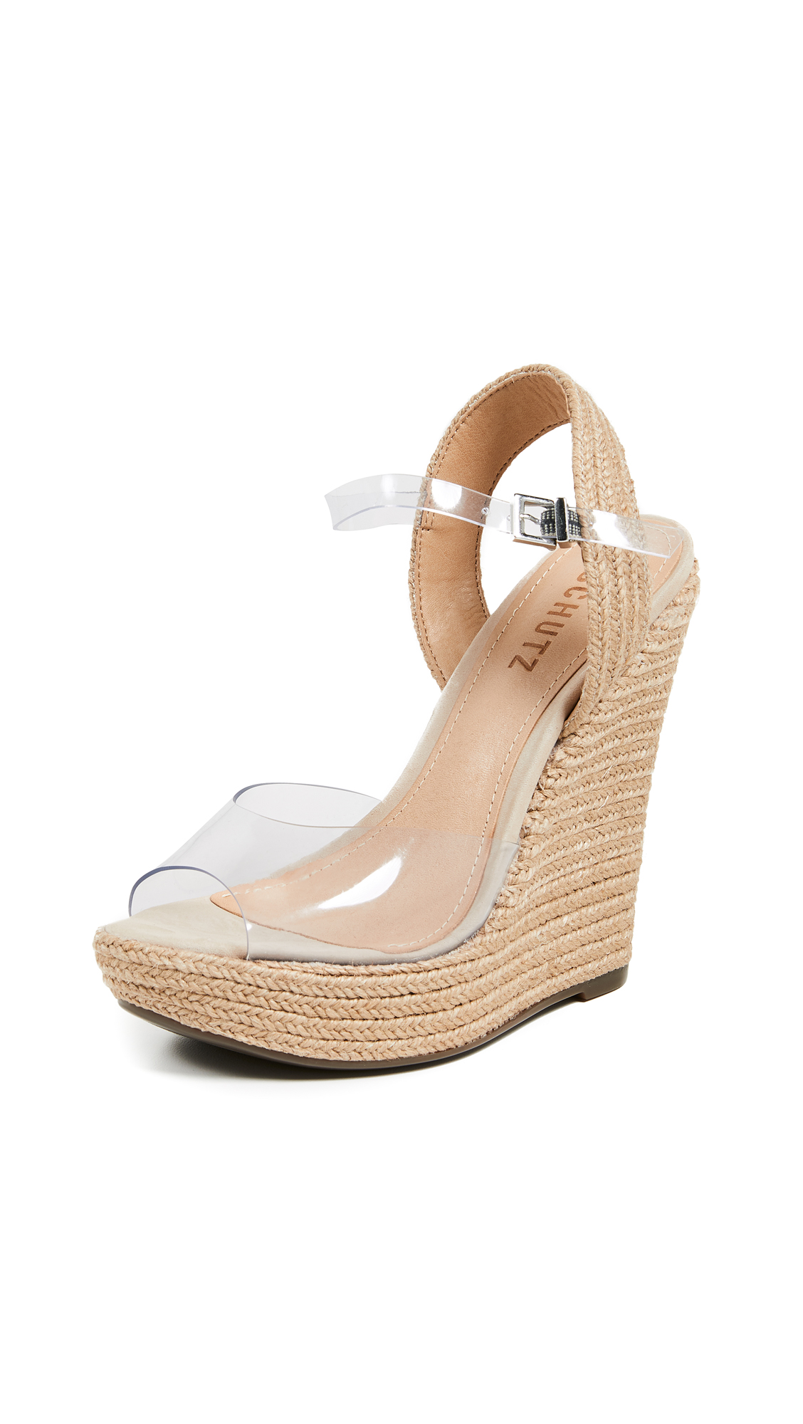 Schutz Lutieres Wedge Espadrilles - Transparent/Natural