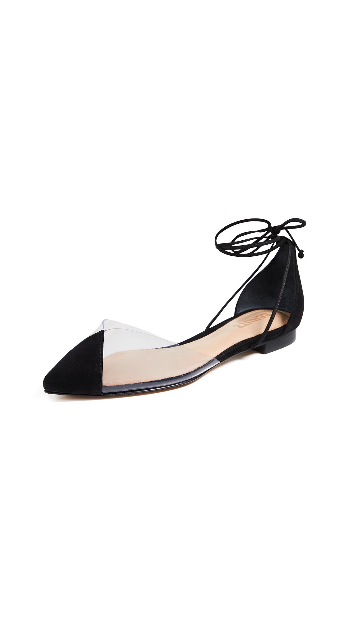 Schutz Merry Point Toe Flats - Black/Transparent