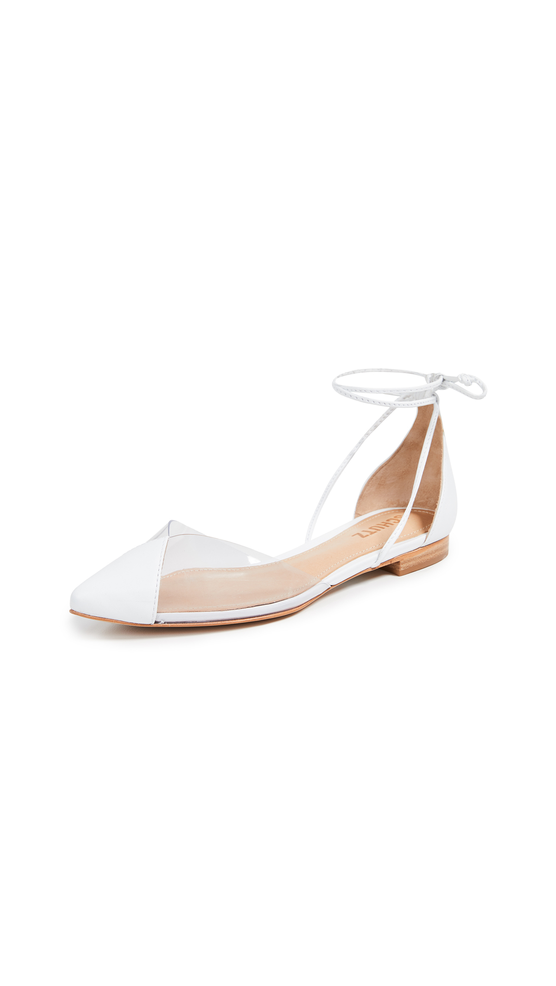 Schutz Merry Point Toe Flats - White/Transparent