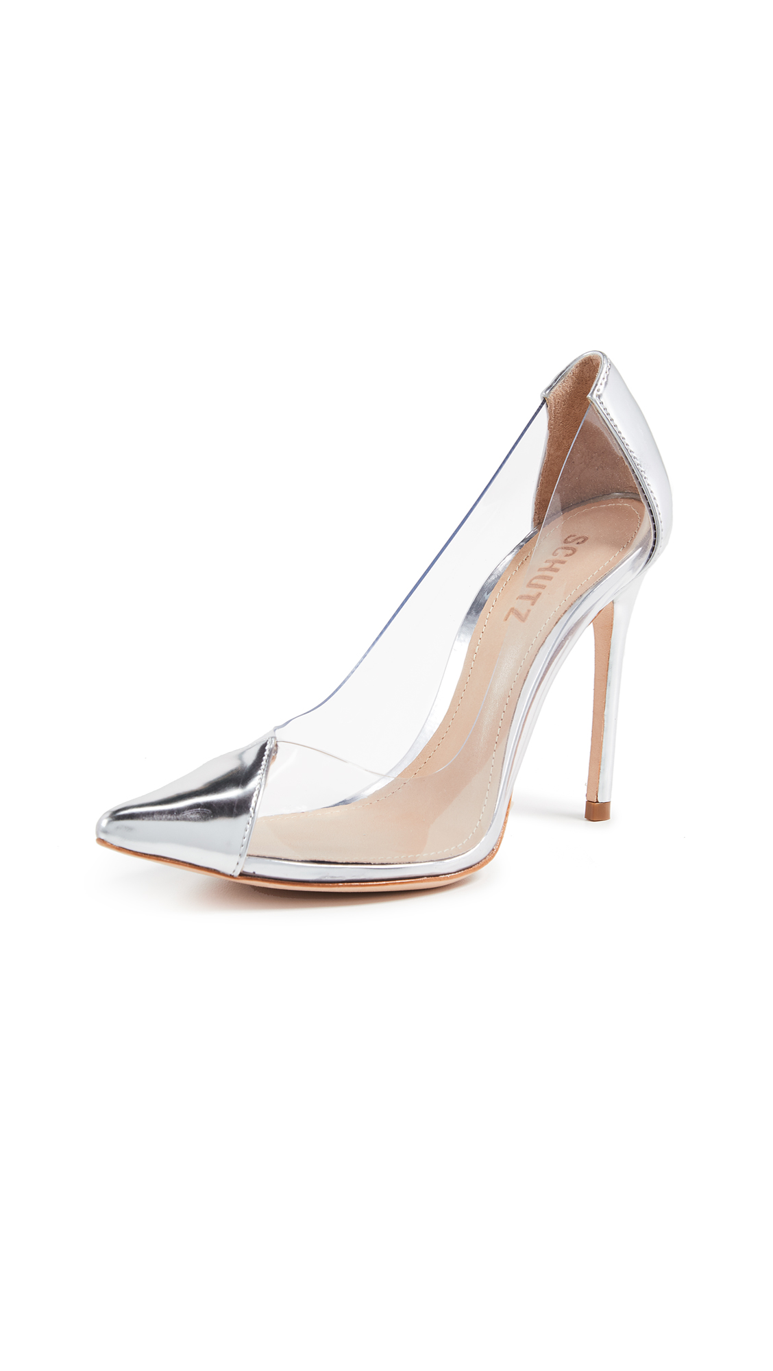Schutz Cendi Point Toe Vinyl Pumps - Prata