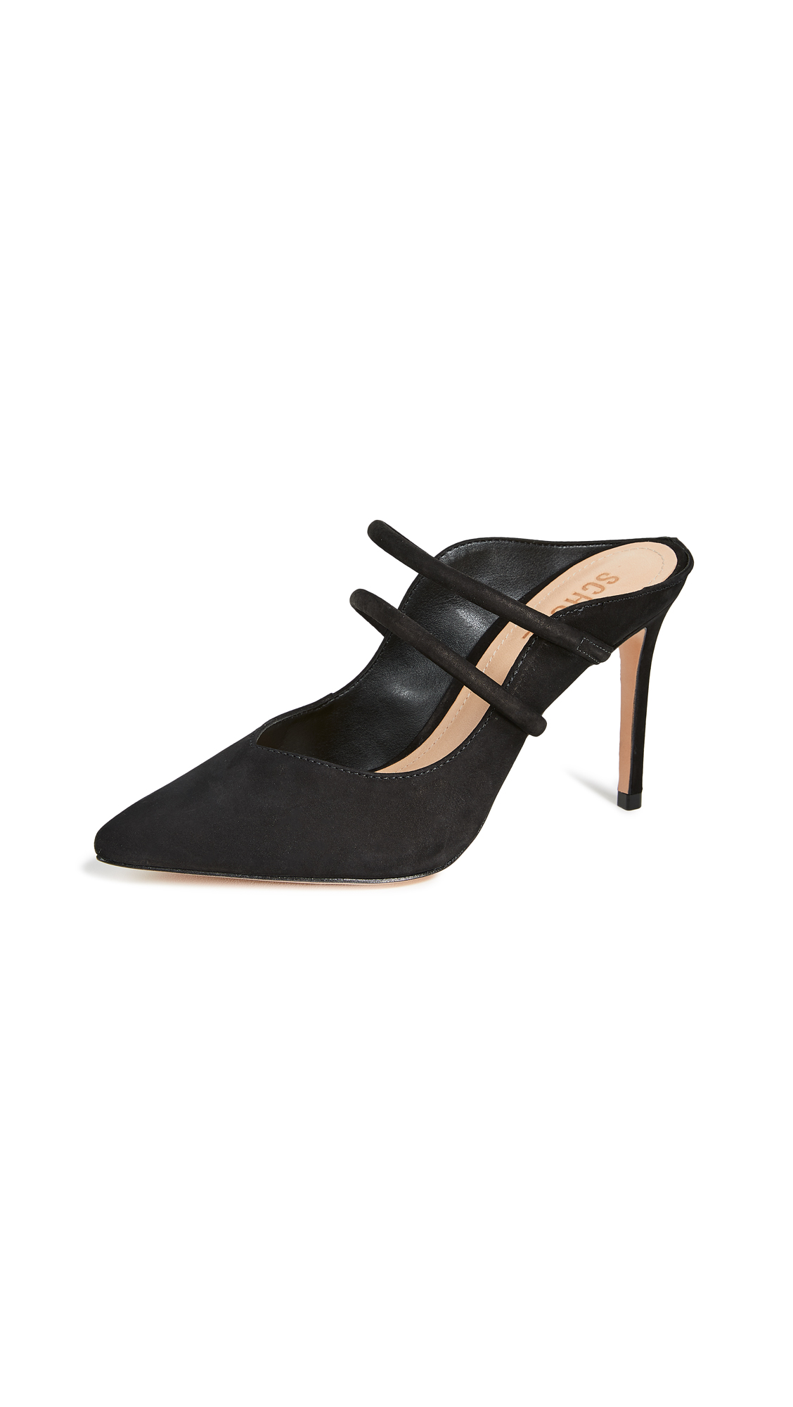 Schutz Twila Point Toe Mules - Black