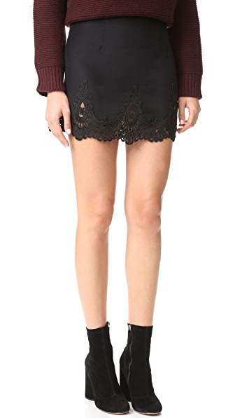Stone Cold Fox Jade Silk Lace Skirt