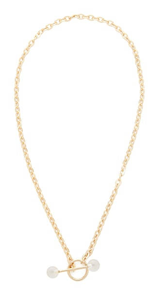 Saskia Diez Barbelle Necklace In Gold/Crystal