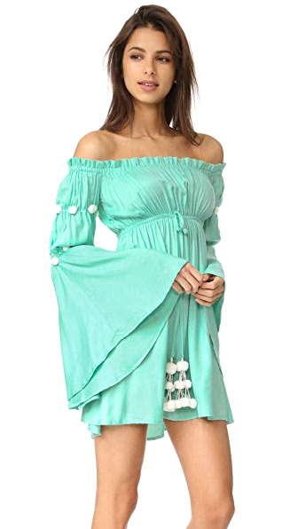 SUNDRESS Anita Dress - Aqua/White