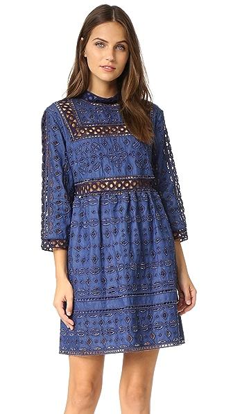 Sea Eyelet & Lace Popover Dress - Indigo