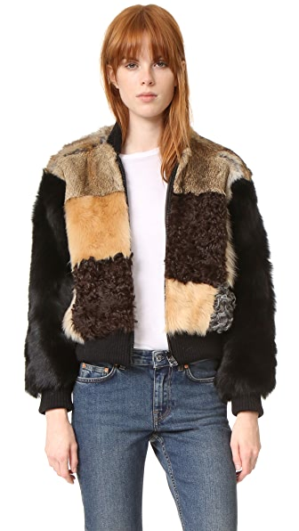 Sea Patchwork Fur Bomber