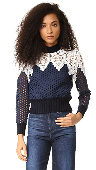 Sea Lace Hole Punch Top - Navy