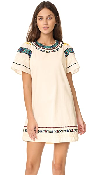 Sea Embroidered Tee Dress - Cream