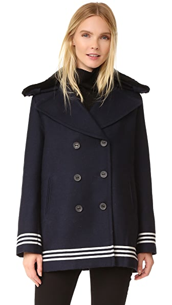 Sea Shearling Trim Peacoat - Navy