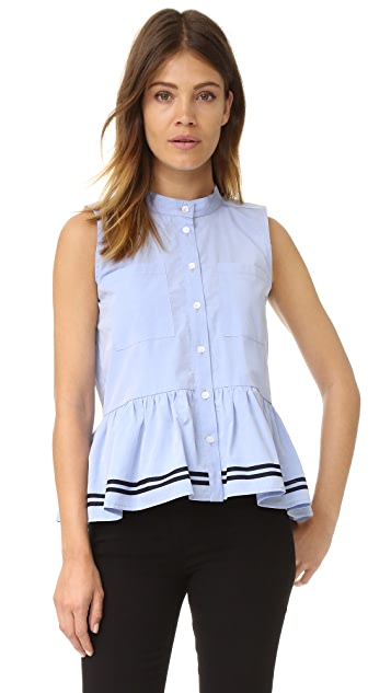 Sea Sleeveless Ruffle Top