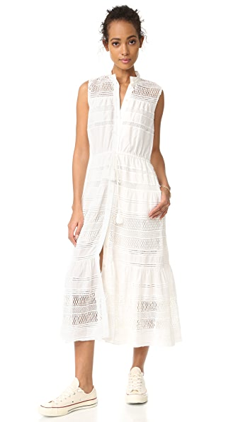 Sea Baja Lace Button Down Dress - White
