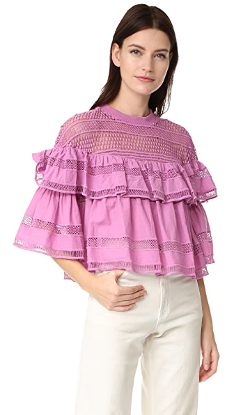 Sea Baja Lace Ruffled Top - Orchid