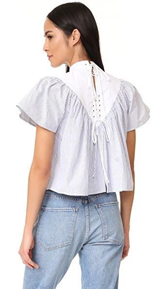Sea Lace Up Striped Cotton Blouse - Multi