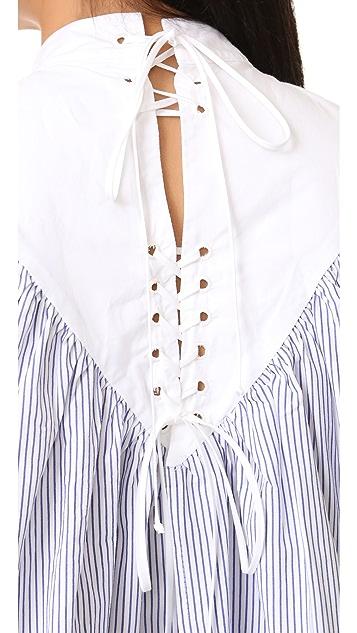 Sea Lace Up Striped Cotton Blouse