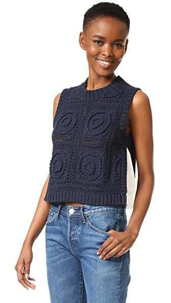 Sea Sleeveless Combo Knit Pullover