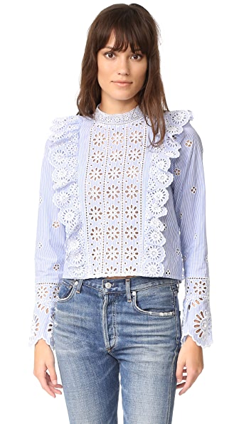 Sea Exploded Eyelet Ruffle Top