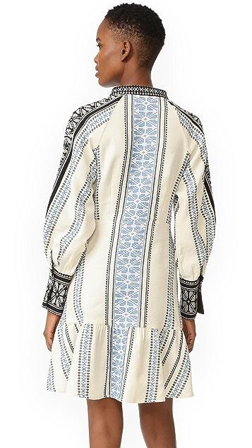 Sea Mixed Yarn Dyed Long Sleeve Dress