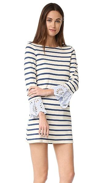 Sea Платье с полосками и кружевным шитьем