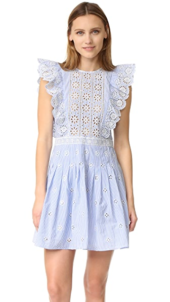 Sea Ruffled Eyelet Dress
