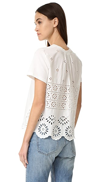 Sea Soft Eyelet Back Tee - White