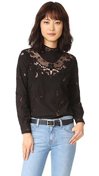 Sea Embroidered Long Sleeve Top - Black