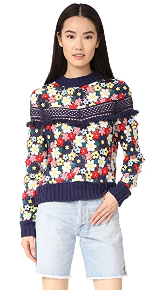 Sea 3D Lace Sweatshirt In Navy/Multi