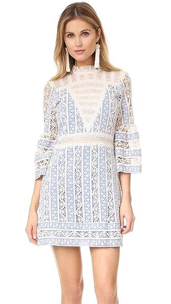 Sea Column Crochet Bell Sleeve Dress