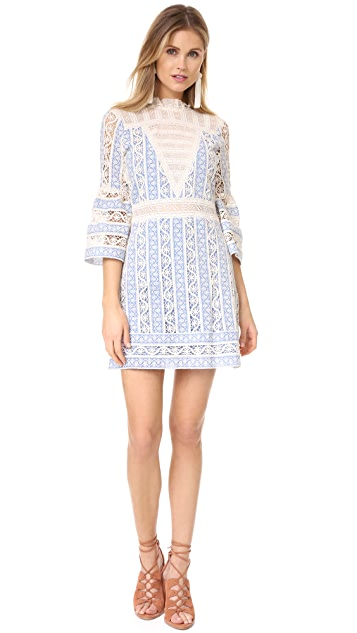Sea Column Crochet Bell Sleeve Dress