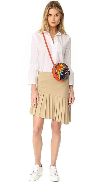 Sea Asymmetrical Pleated Skirt