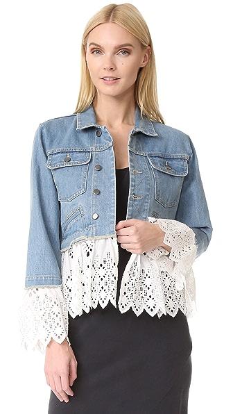 Sea Eyelet Layered Denim Jacket In White
