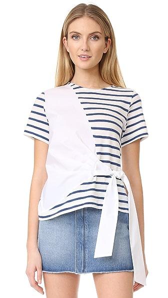 Sea Комбинированная футболка из рубашечной ткани с завязками