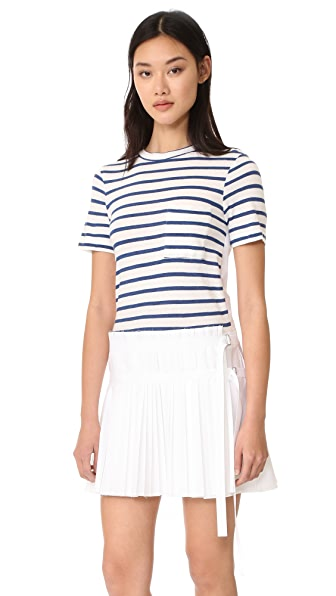 Sea T-Shirt Pleated Combo Dress - White/Blue Stripe