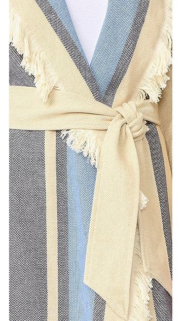 Sea Border Stripe Fringe Coat