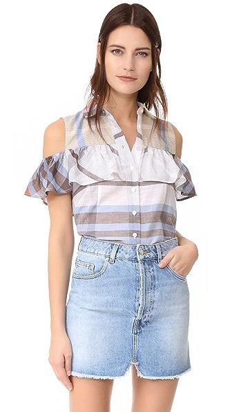 Sea Рубашка с открытыми плечами и оборками