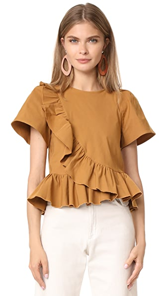 Sea Ruffle Wrap Top