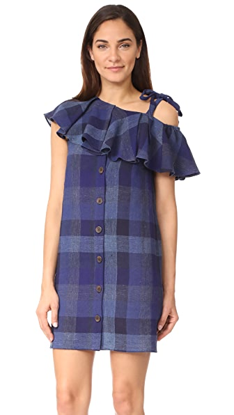 Sea One Shoulder Shift Dress - Blue Plaid