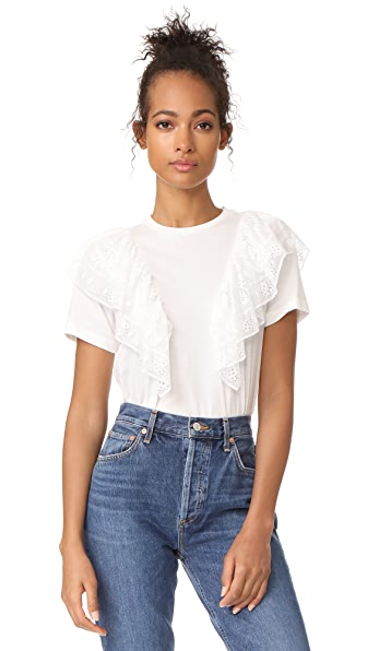 Sea Lace Ruffle Tee - White