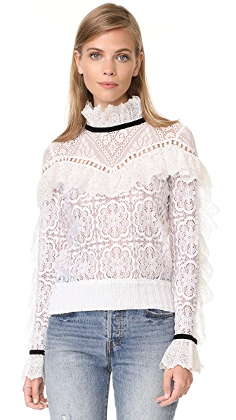 Sea Lace Ruffle Sweatshirt In White