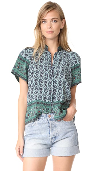 Sea Mandarin Puff Sleeve Top - Jade