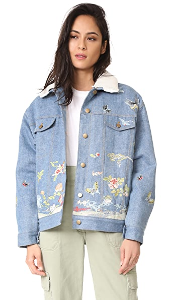 Sea Embroidered Denim Jacket In Denim/Multi
