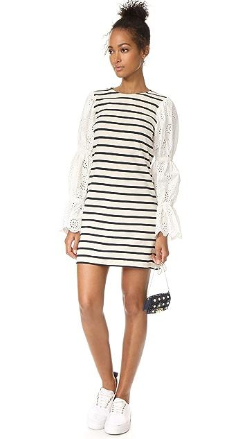 Sea Eyelet Sleeve Dress