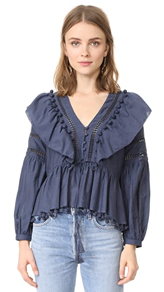Sea Pom Pom Blouse - Blue