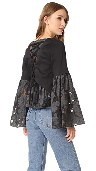 Sea Lace Back Bell Sleeve Blouse - Black