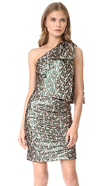 Sea Shoulder Bow Dress - Green/Sienna Multi