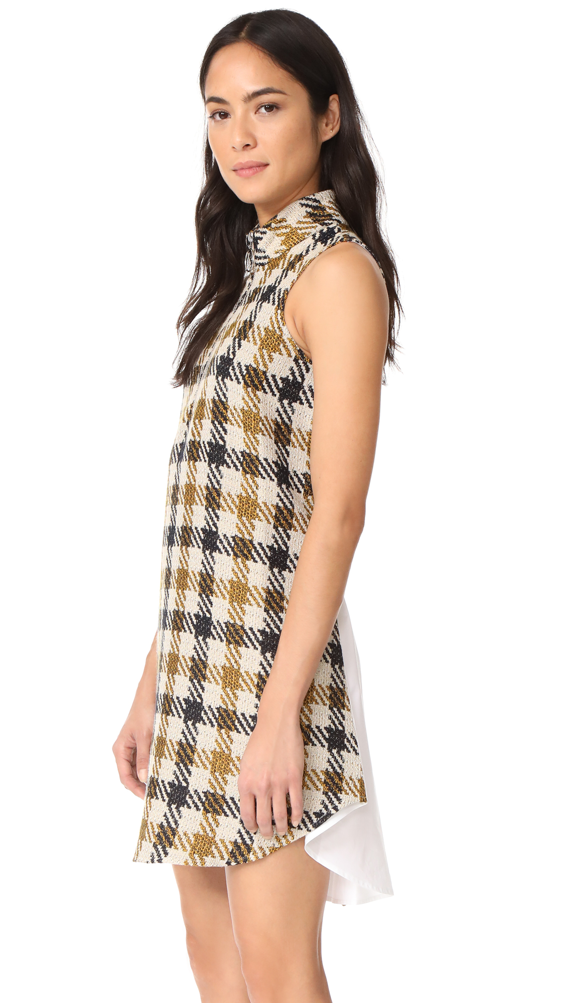 Sea Combo Twiggy Dress - Cream/Black/Yellow Check Multi