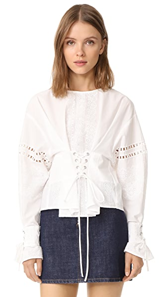 Sea Long Sleeve Eyelet Lace Up Blouse In Cream