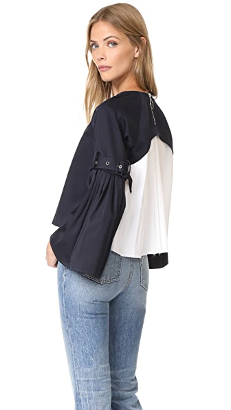 Sea Combo Pleated Top - Navy x White Combo